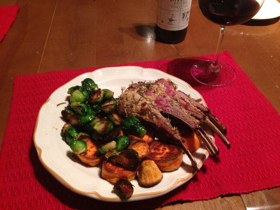 Lamb rack w roasted Brussels and yams