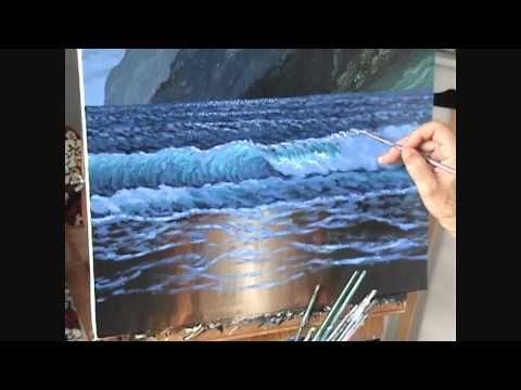 5 Come dipingere una spiaggia e le montagne e la luce della luna - YouTube