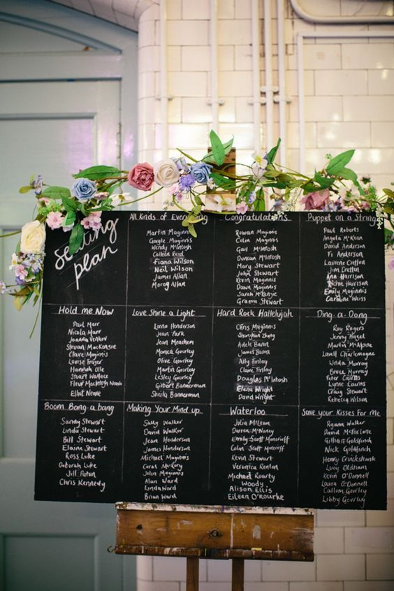Blackboard and flowers table plan, from 'A Pale Green 40's Inspired Dress And Floral Crown For An Eclectic, DIY Edinburgh Wedding' http://www.caroweiss.com/