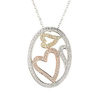Sonia Bitton Galerie de Bijoux® 14K Tri-color 0.54ctw Diamond Oval Heart Pendant