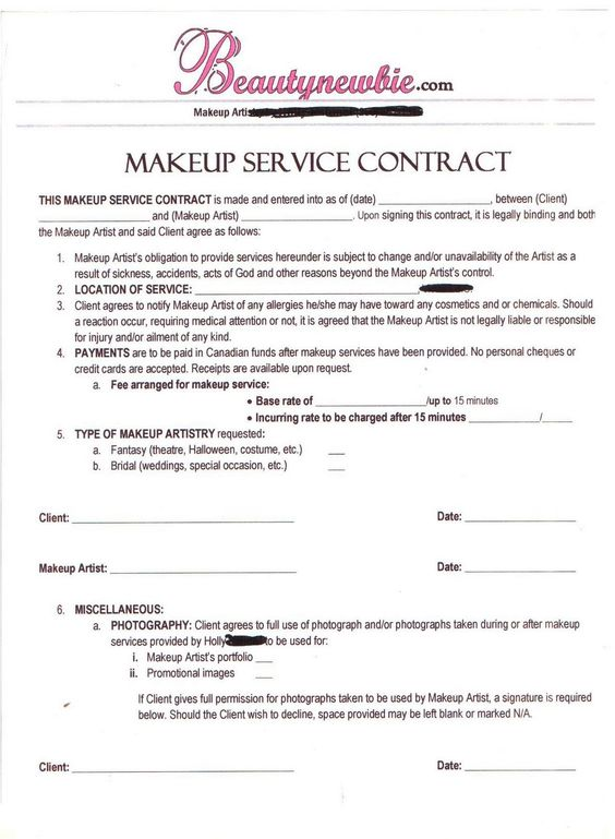 Contract MAKEUP ARTIST Pinterest Makeup, Business And Salons   Personal Service  Contract