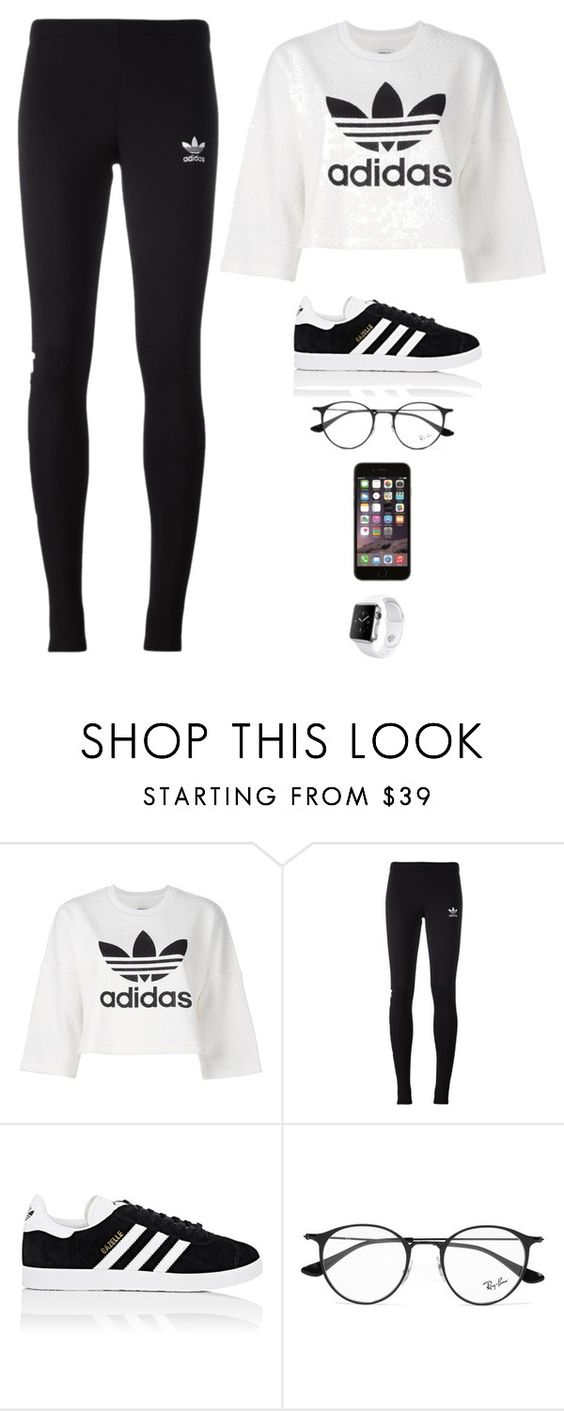 """""""Untitled #3170"""" by twerkinonmaz ❤ liked on Polyvore featuring adidas Originals, adidas, Ray-Ban and Apple"""