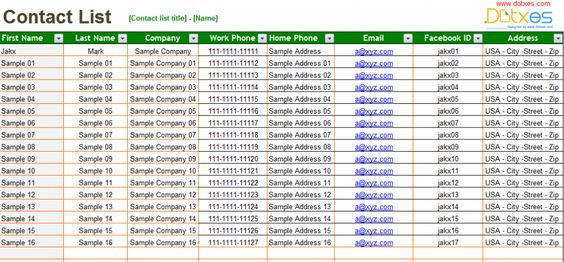 Contact list template for sports team List Templates - Dotxes - contact list excel template