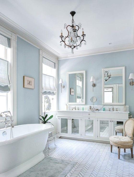 Pin By Carla Castellano On Pretty Home In 2020 White Master Bathroom White Bathroom Designs Light Blue Bathroom