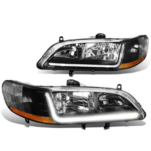 For 98 02 Honda Accord 6th Gen Pair Of Black Housing Amber Corner Headlights Led Drl 99 00 01 Toyota Corolla Honda Accord Honda Accord Coupe
