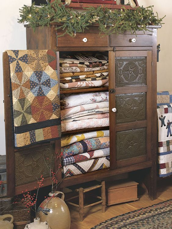 Old Pie Safe...filled with prim quilts. Country Sampler's 30 Icons of Country Style: Quilts.:
