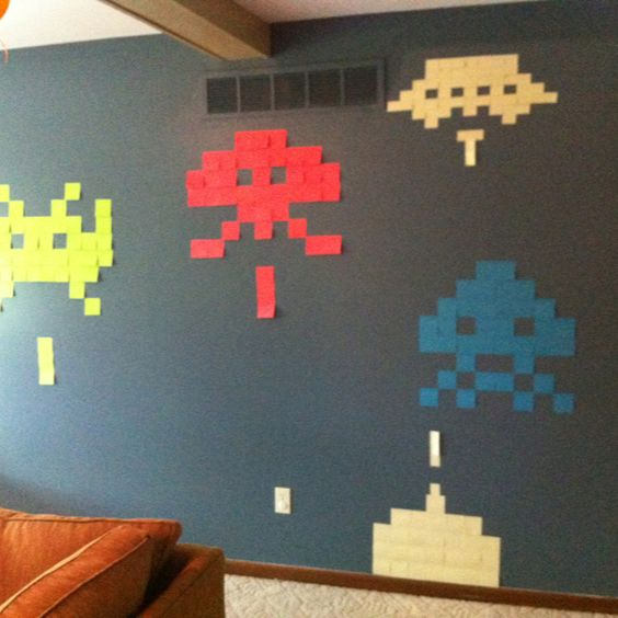 Post it note decorations for 80's party..                              …