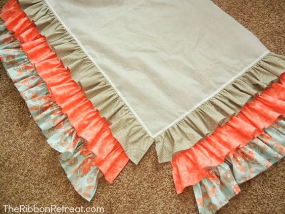 This in my nursery colors Pink, aqua, and red!! WEEEE Ruffled Crib Skirt Tutorial - The Ribbon Retreat Blog