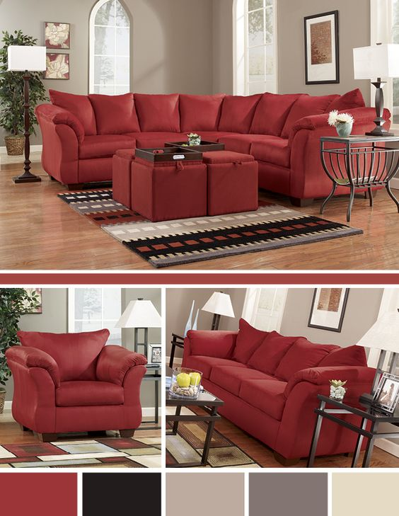 Darcy Sofa Furniture Grey And Red Living Rooms