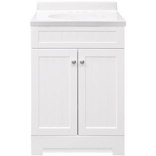 Style Selections Ellenbee 24 5 In White Single Sink Bathroom