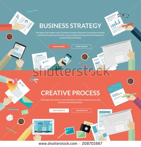 Set of flat design concepts for business strategy and creative process. Concepts for teamwork consulting on briefing, small business project presentation, planning, brainstorming and marketing ideas.