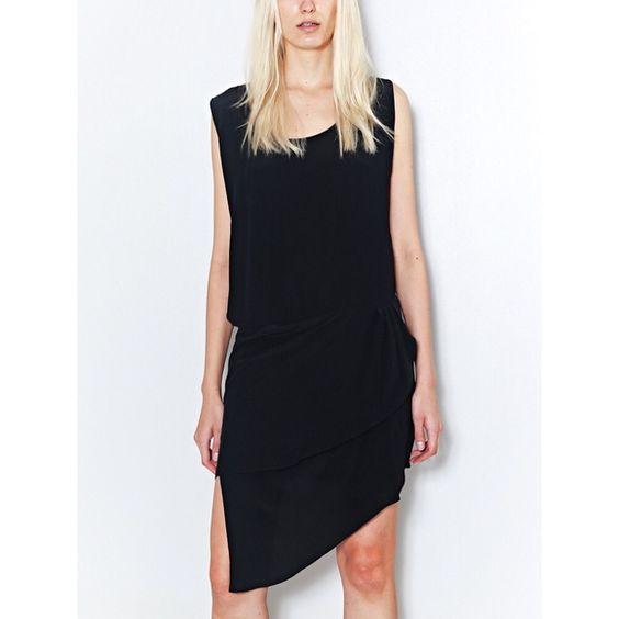OAK Asymmetrical Dress Asymmetric little black dress! Worn once and got tons of compliments. From OAK NYC. OAK Dresses Asymmetrical