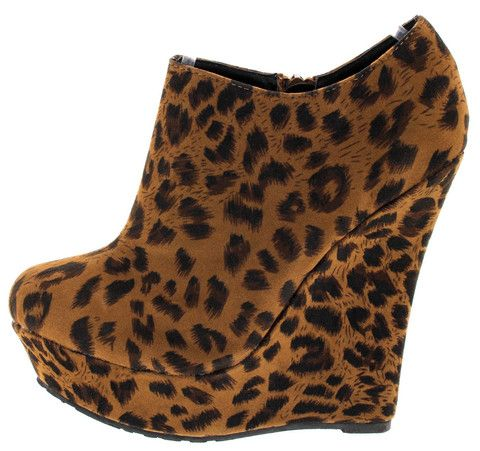 TROUBLE NATURAL LEOPARD WEDGE BOOTS
