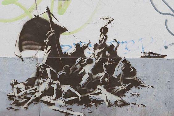 signo chica York y de rata en el parque de la ciudad son la calle de graffiti pintado en el estilo de Bristol.