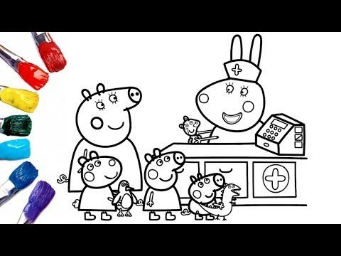 Peppa Pig Goes To Doll Hospital Peppa Pig Coloring Pages 1080p Youtube Peppa Pig Coloring Pages Peppa Pig Colouring Coloring Pages