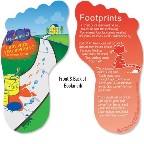 Multi Color Footprints In The Sand Bookmark For Children Kids