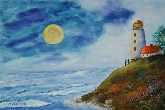 Moonlight  Watercolor Painting by halinapl on Etsy, $79.00
