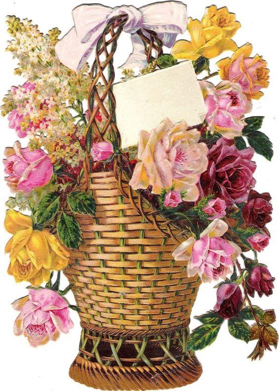 Oblaten Glanzbild scrap die cut chromo Blumen Korb 21,7 cm  Flieder lilac lilas