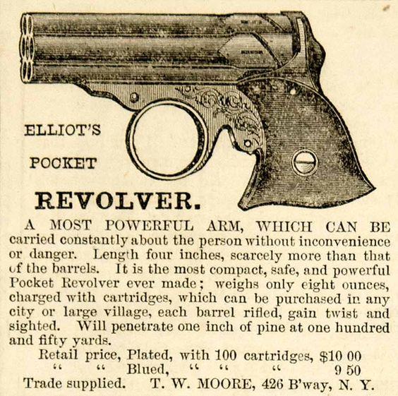 1861 Black And White Print Ad For Elliot S Pocket