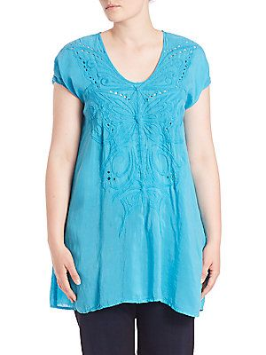 Johnny Was, Plus Size Butterfly Floral Tunic - Ocean