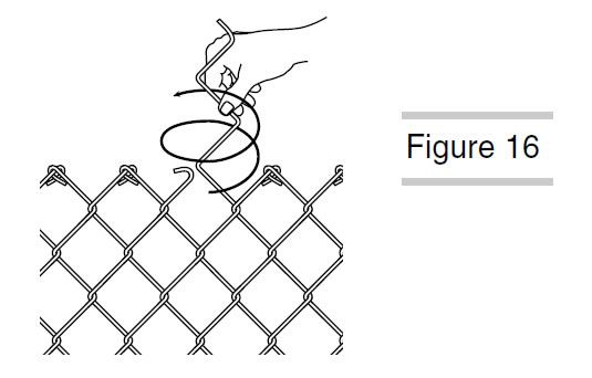 A Hand Is Splicing Chain Link Fence With Tie Wires Chain Link