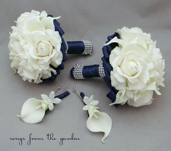Navy Wedding Flowers Wedding Flower Packages And Groomsmen Boutonniere On Pinterest