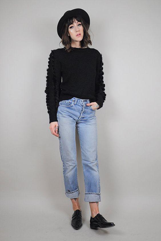Vintage black GENUINE FUR braided minimalist sweater /// @rackkandruin x @noirohio