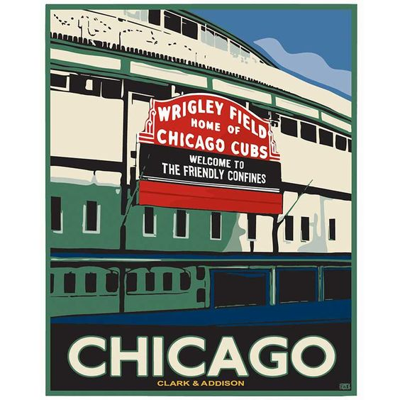 "Poster by local artist Dan Facchini of the home of the Chicago Cubs: Wrigley Field - AKA ""The Friendly Confines."""