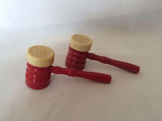 Vintage Red Plastic Gavel Salt and Pepper Shaker for grilling