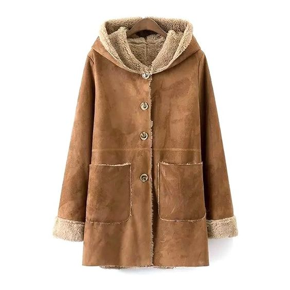 Khaki Faux Suede Hooded Long Sleeve Coat (81 AUD) ❤ liked on Polyvore featuring outerwear, coats, brown coat, khaki coat and long sleeve coat