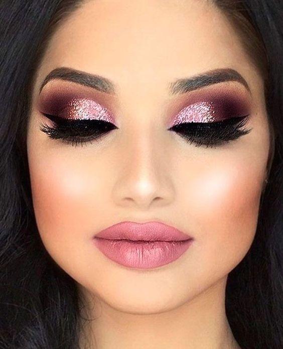 Pink and rose gold makeup ideas