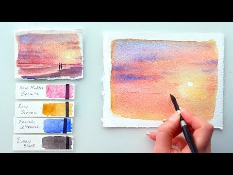 4 Pink Sunset Watercolor Tutorial Youtube Watercolor Sunset Easy Watercolor Watercolour Tutorials