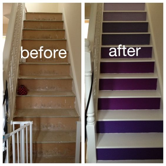 Purple Painted Ombre Stairs Before And After My