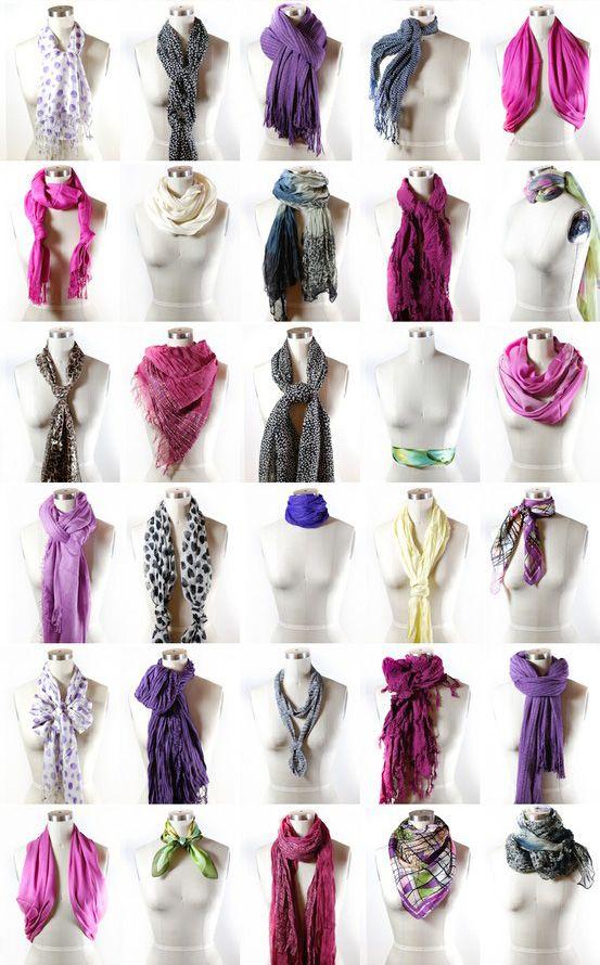 Confira mais de 75 maneiras de amarrar lenços com tutoriais em video e passo-a-passo com fotos. Aprenda como usar lenços tanto no verão quanto no inverno!