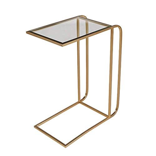Axdwfd Side Table Tempered Glass Tabletop Metal Table Frame Sofa