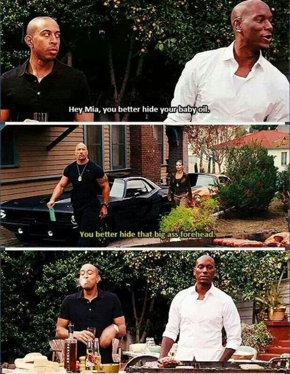 When you watch this scene, you can tell it wasn't in the script by the way Ludacris spots out his water and everyone starts laughing...