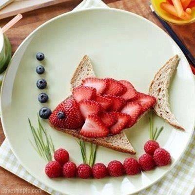Strawberry fish art: