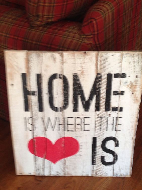 Distressed pallet sign... Home is where the heart is
