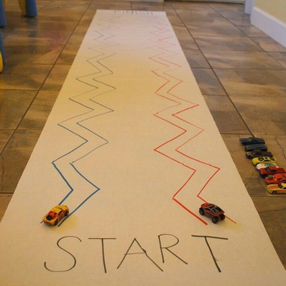 Pre-writing activities - fine motor-strengthening: car zig-zagging but add speech/language targets along the way