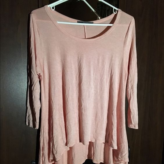 Bundle Rose colored flowy top, long on the sides, and shorter toward the center(size S). Knitted cream colored sleeveless cardigan(size XS). The cardigan says XS but I am a medium and it fits just right. Mossimo Supply Co Tops Blouses