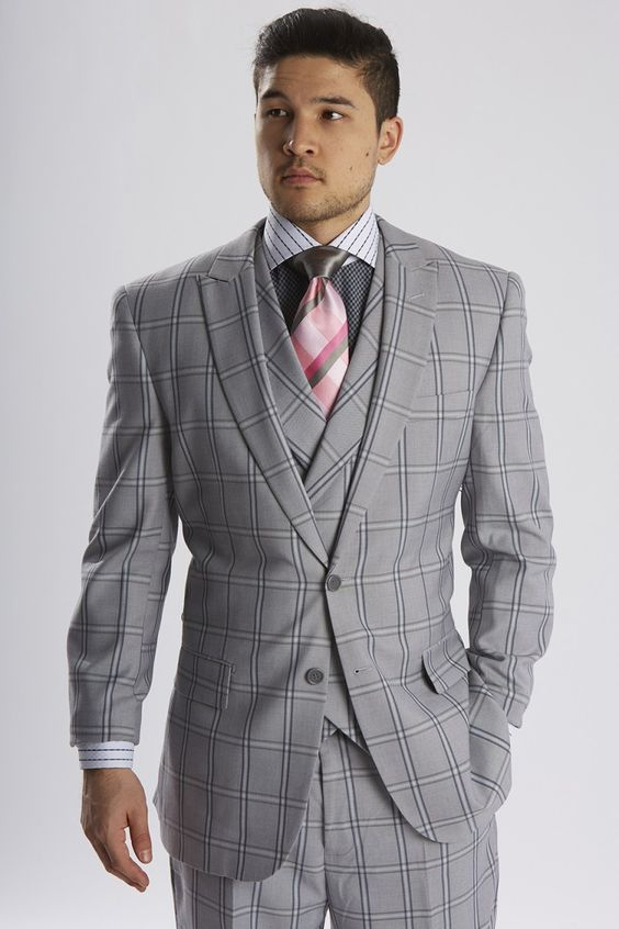 Steven Land men's fashion 3 piece suit featuring a 1 button peak