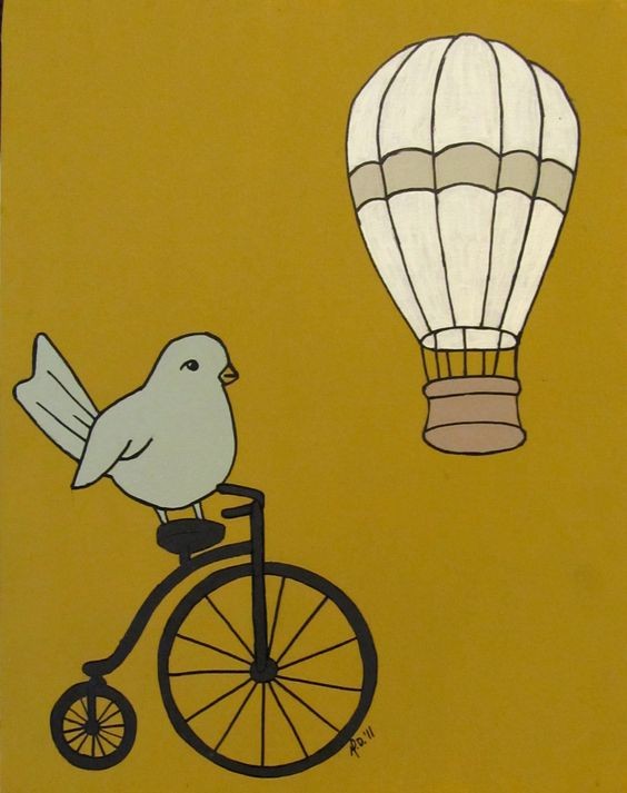 Bird art print Summer Ride Modern Urban Chic bird by mdcreated, $15.00