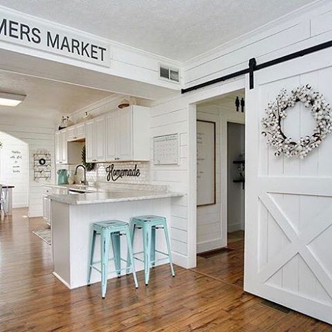 We are thinking about doing a barn door like the one we built in the last house over the pantry in this house, it's currently just a regular door, what do y'all think? That or a pantry door with the frosty window? I can't decide! I will share an updated kitchen photo with y'all soon, aside from counters it's just about finished 😍 #homerenovation #homereno #renovation #thisisus #kitchendecor #kitchendreams #kitchendesign #kitchenremodel #farmersmarket #freshmarket #barndoor #home