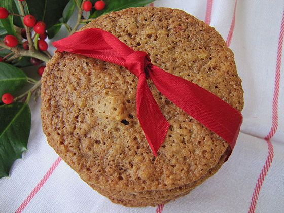Our first cookie is Walnut Wafers from Tickled Red. Link up! http://lovefeasttable.com/blog/walnut-wafers/