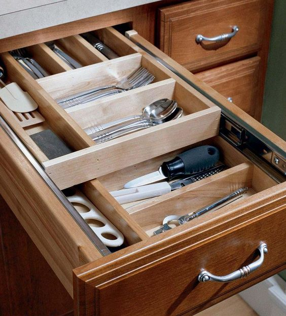 Storage solutions details wood tiered drawer storage for Home construction organizer