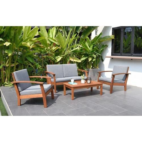International Home Amazonia Eucalyptus 4 Piece Wood Frame Patio Conversation Set With Cushion S Included Lowes Com Backyard Furniture Outdoor Deck Furniture Best Outdoor Furniture