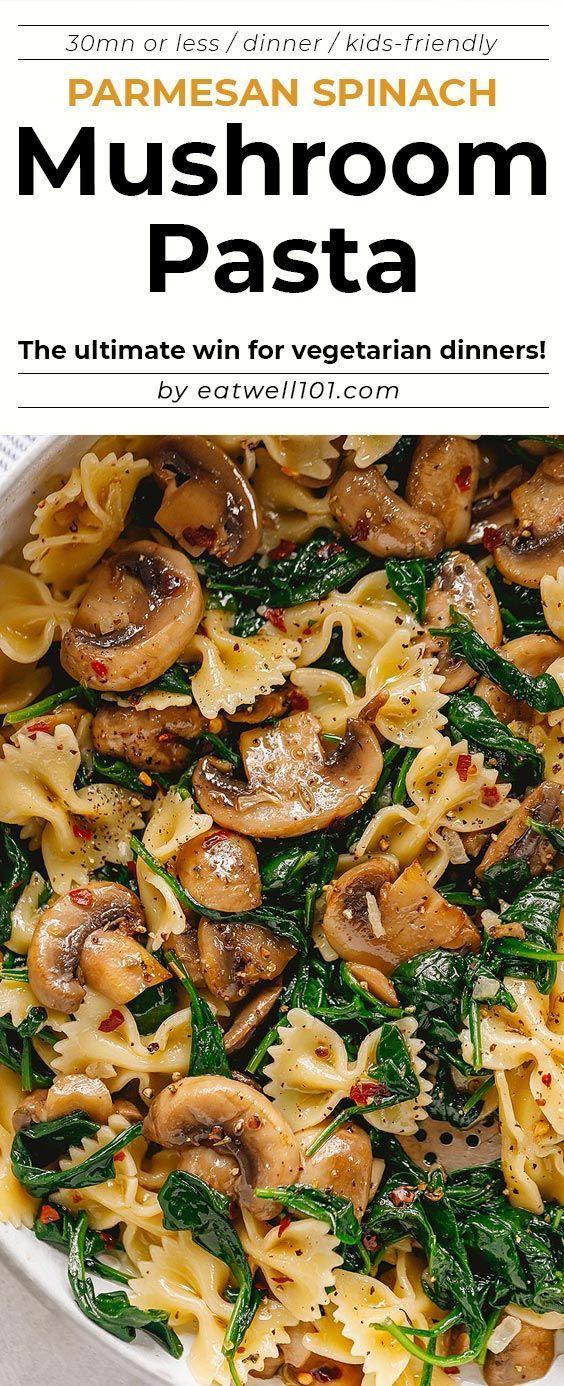 Parmesan Spinach Mushroom Pasta Skillet