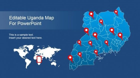 Editable Uganda Powerpoint Map