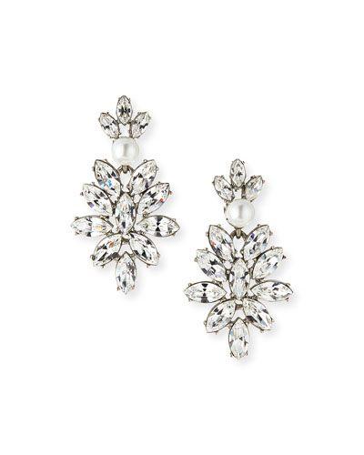 Y2TCS Oscar de la Renta Navette Crystal Drop Clip Earrings