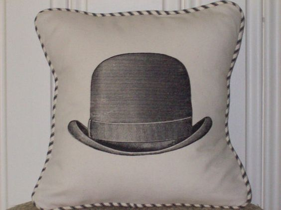 shabby chic steampunk vintage bowler hat pillow sham by kreativbyerika, $30.00